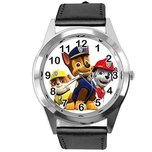 Reloj analógico de Cuarzo con Correa de Piel auténtica de Color Negro Redondo para los Fans...