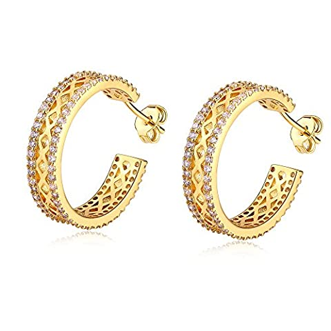 LANMPU 18K Gold Hoop Earrings - AAA Cubic Zirconia - Classic Circle Earrings For Women