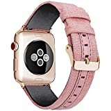 WOOLIY for Apple Watch Band Women Woven Canvas Nylon iWatch Bands Ersatz Wristband Strap for 38mm 40mm 42mm 44mm New Apple Watch Series 4/3/2/1,B,40mm