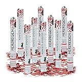Relaxdays 10x Lanceurs confettis Coeurs Rouges 40 cm canons Party Popper fête décoration Mariage Cadeau Anniversaire portée 6-8 m, Rouge métallique