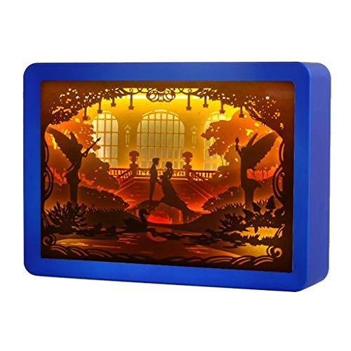Quadrat Papier Schatten (bloatboy Kreative Papierschnitt Lampe, Diy Kleine Nachtlicht 3D Licht Schatten Papier geschnitzte Lichter Nachtlampe Mit Fernbedienung, Schlafzimmer Lampen Tischbeleuchtung Geburtstagsgeschenke (Blau))
