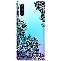 Suhctup Funda Compatible con Huawei Y7 2018,Carcasa Protectora de Silicona Transparente TPU Bumper con Floral Diseño,Ultra Fina Anti-Choques y Anti-Arañazos Resistente Case,Rosa Blanca