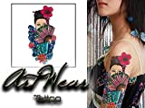 """Tatouage Temporaire """"The girl with the fan 1"""" - ArtWear Tattoo Asian Woman - B0034 M"""