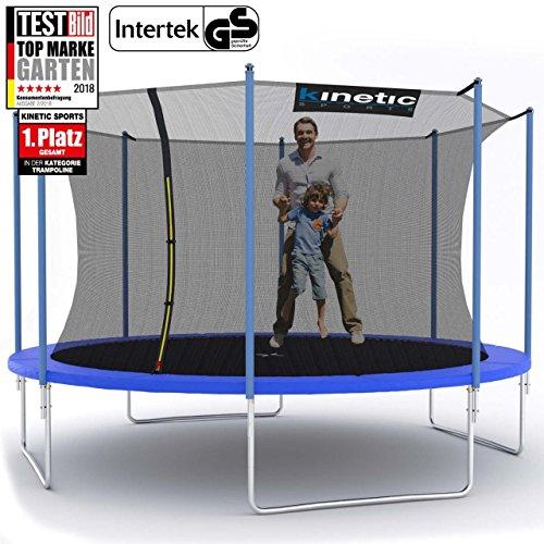 Kinetic Sports Gartentrampolin inkl. Sicherheitsnetz 183 bis 490cm Größenauswahl - Intertek GS zertifiziert