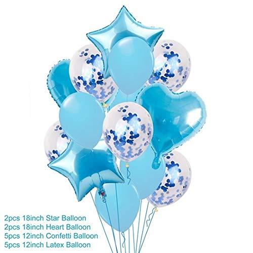 (Horrenz – 14 Stück Gemischte rosa Geburtstagsballon blau Geburtstag Party Dekoration für Kinder Babyparty Junge Mädchen 14pcs Blue Set)
