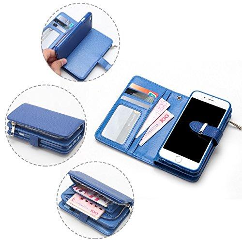 Solid Color Litchi Skin PU Leder Magnetic Closure Pattern Schutzhülle mit Card Slots & Zipper Pouch & Abnehmbare Back Cover für iPhone 6 Plus & 6s Plus ( Color : Red ) Blue