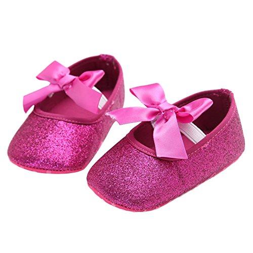 WAYLONGPLUS Baby-Mädchen Leinwand Schleife glänzende weiche Sohle Prewalker Lauflernchuhe Rot