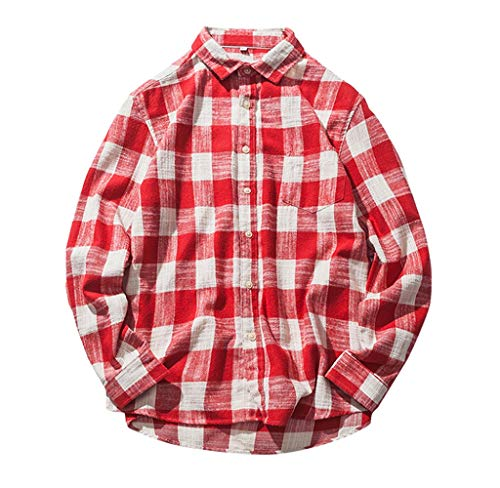 Karo-empire Top (Luckycat Herren Herbst Casual Fashion Cotton Plaid Karo Langarm Shirt Top Bluse Mode 2018)