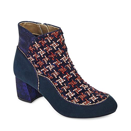 Ruby Shoo Karolina Navy Tweed Block Heel Boots UK 7 Tweed-blöcke