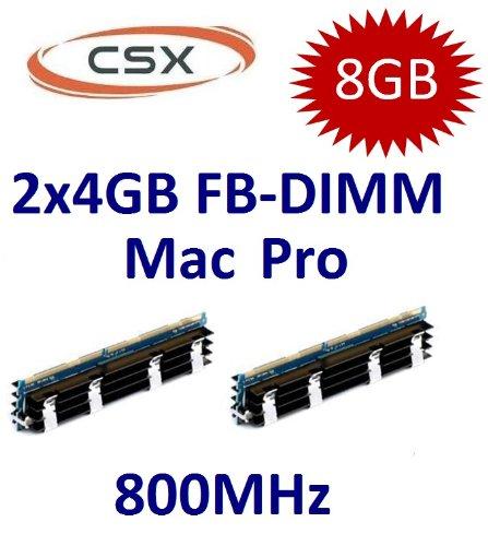 CSX original 2 x 4GB = 8GB Kit 240 pin FB-DIMM DDR2-800 PC2-6400 CL6 double side für MacPro Systeme 1,1 2,1 3,1 (Baujahre 2006 bis 2008 - max 8x4GB) mit extra großem Kühlkörper -