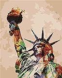 DIY Öl Malen nach Zahlen Kit für Erwachsene Anfänger 40,6x 50,8cm-Colorful Freiheitsstatue, Zeichnen mit Pinsel Weihnachten Decor Dekorationen Geschenke Without Frame