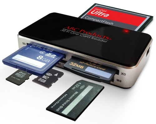 ABC Products® - Lector universal de tarjetas de memoria compatible con SDHC, SD-HC, XD-H, XD-M, XD, SD, CF, MS, MMC, Micro SD, cámaras digitales con estos sistemas, y smartphones con sistemas Windows y Apple Mac, Lee todas las tarjetas excepto Smart Media, cable USB incluido