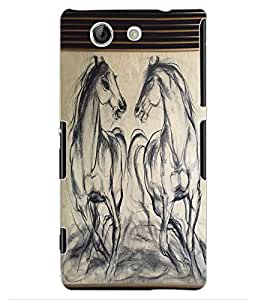 ColourCraft Horses Sketch Design Back Case Cover for SONY XPERIA Z4 MINI / COMPACT