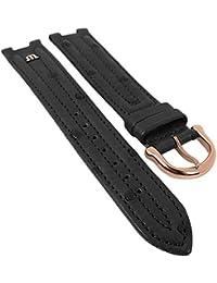 Maurice Lacroix für Calypso/Scala | Ersatzband Uhrenarmband Straußenleder schwarz matt 30037, Stegbreite:14mm, Schließe:Roséfarben