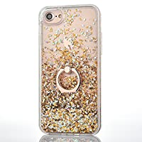 iPhone 6 Plus/6S Plus Case [With Free Tempered Glass Screen Protector],Mo-Beauty® Flowing Liquid Floating Flowing Bling Shiny Sparkle Glitter Crystal Clear Plastic Hard Case Protective Shell Case Cover For Apple iPhone 6 Plus/6S Plus (Gold)