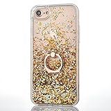 Paillette Coque pour iPhone 5S,Liquide Coque Bling Flash Etui Plastic Case,Hard Etui Transparent Flux Diamants Housse Coque,3D Protecteur Kickstand Case Cover Coquille pour Apple iPhone 5S/5C/SE,Or