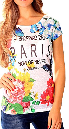 Easy Young Fashion Damen Sommer T-Shirt mit Aufdruck One Size shopping day