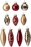 Heitmann Brauns 86688 Baumbehang-Sortiment Glas-Kugeln und Glas-Oliven, 21-teilig, verschiedene Größen 4-9 cm, rot/gold