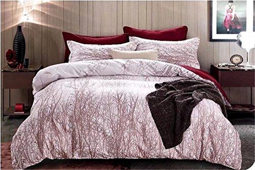 Floral und Bäume Natur Design Home Textil Twin/Double/Full XL/Queen/King Größe Bettwäsche Bettbezug Sets (doppelte (ohne Füllung), weiß)