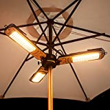 Electric Halogen Parasol Heater - Foldable Arms, 1m Wide