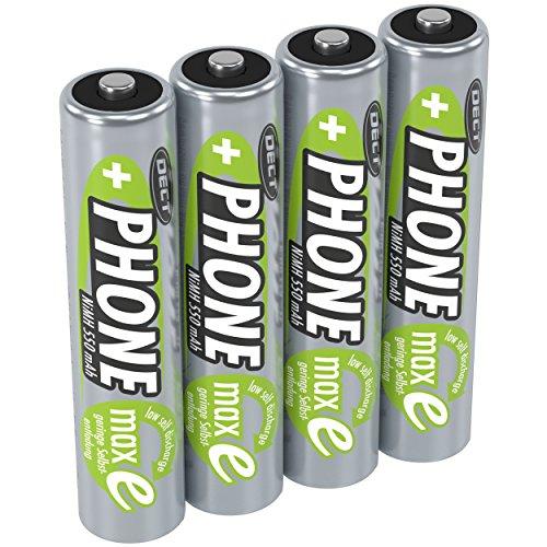 ANSMANN Akku AAA Micro 550 mAh 1,2V NiMH für Schnurlostelefon 4 Stück - Wiederaufladbare Batterien mit geringer Selbstentladung maxE - Akkus für Festnetz Telefon schnurlos - Rechargeable Battery