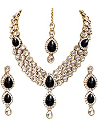 Lucky Jewellery Traditional Gold Plated Kundan Necklace Set For Girl & Women (MSK-3-LINE-PARENT)