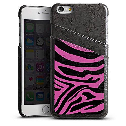 Apple iPhone 5s Housse Étui Protection Coque Motif rose Zèbre Tendance Étui en cuir gris