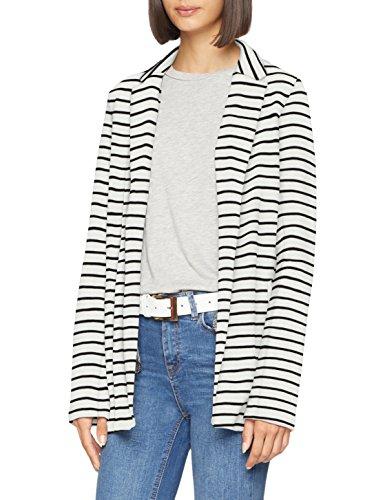 ONLY Damen Anzugjacke Onlerin L/S Blazer Swt, Mehrfarbig (Cloud Dancer Stripes: Black), 36 (Herstellergröße: S)