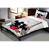 Indian Rack Mickey Mouse Single Cotton Bedsheet With Pillow Cover ( Multicolor)