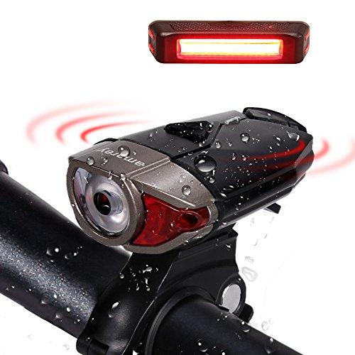 LED Wiederaufladbare Akku LED Stirnlampe Fahrradbeleutung,CREE XPG LED 3W Fahrradlampe Set mit 2 USB-Kabel,LED Frontlicht & Rücklicht,Superhelle 300Lumen,3 Licht-Modi,Wasserdichte Fahrradlicht für Radfahren,Camping