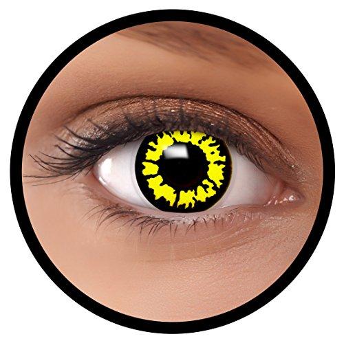 FXEYEZ® Farbige Kontaktlinsen gelb Yellow Wolf + Linsenbehälter, weich, ohne Stärke als 2er Pack - angenehm zu tragen und perfekt zu Halloween, Karneval, Fasching oder (Red Wolf Kostüm Kontaktlinsen)