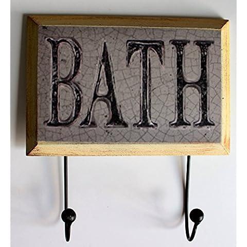 @ @ Bath Shabby Chic/Vintage estilo rústico toallero pared Ganchos 22x 24cm baño cuarto de baño toalla gancho