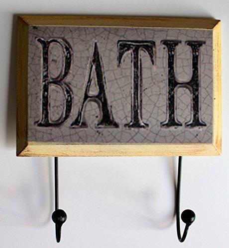 @ @ Bath Vintage/Shabby chic stile rustico portasciugamani gancio da parete 22x 24cm bagno asciugamano ganci