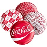 Coca-cola Around the World Picnic / Dinner Plate, 9 Inch Melamine, Set of 4 Styles, Red & White by 180 Degrees
