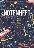 Notenheft: DIN A4 - 100 Seiten - Blanko Notenheft - Für Anfänger und Fortgeschrittene geeignet - Große Lineatur - Musik Schreibheft - Leere Notensysteme