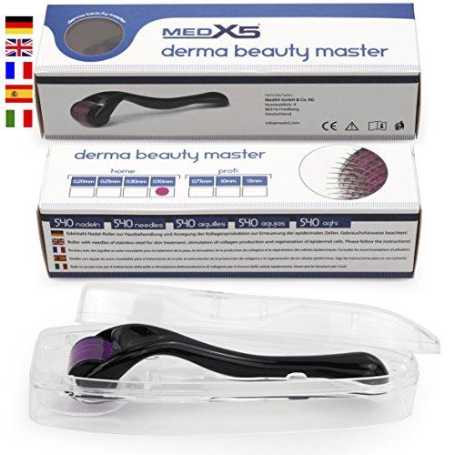 MedX5 (Upgrade 2019) 0,5mm Dermaroller, Medizinprodukt Klasse I mit CE-Kennzeichnung, 540 Nadeln aus Edelstahl, Derma Roller gegen tiefe Narben und schwere Cellulite