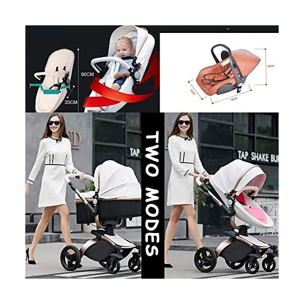 HZC 2 in 1 Baby Stroller Newborn Bassinet Travel System Baby Carriage for Toddler Girls and Boys (Color : White) HZC Suitable for baby strollers from birth to 25 kg, made of high-quality aluminum alloy, each baby stroller is pressure tested to provide safety for every baby. Multi-position Reversible Seat: Carrycot for newborn to 6 months can simply convert to seat for toddlers. Easily switch from the carrycot to toddler seat once your baby is 6 months old or can sit unaided,making it an ideal stroller for both infant and toddler. Reversible seat design allows baby to face you or face the world 4