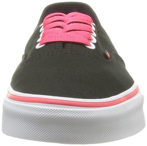 Vans U Authentic - Baskets Mode Mixte Adulte Noir (Black/Neon Red)