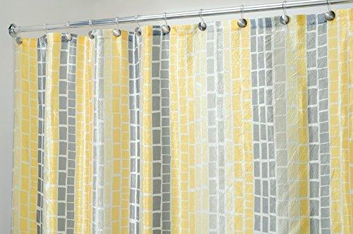 mDesign Duschvorhang anti-Schimmel - 180 cm x 180 cm - gelb/grauer Dusch- & Badewannenvorhang - Duschvorhang wasserabweisend - 12 verstärkte genähte Löcher für einfache Aufhängung