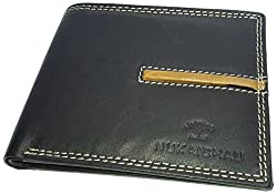 NUKAICHAU Black Tan Single Fold Mens Leather Wallet