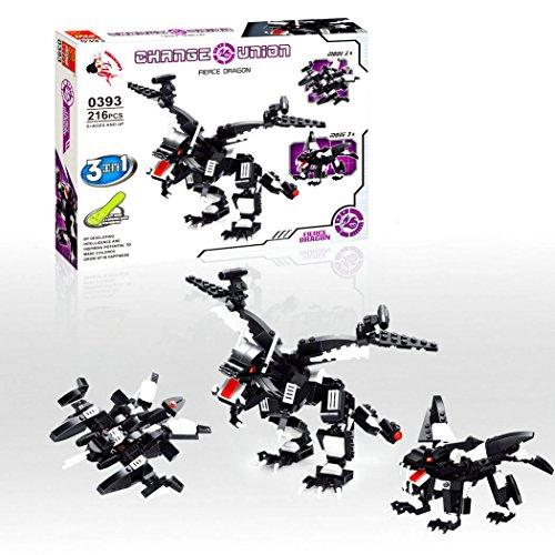 Fierce Dragon - 3in1 Baukasten mit 216 Teilen, Change Union Serie,0393 - Sammle alle 4 Sets und baue den großen