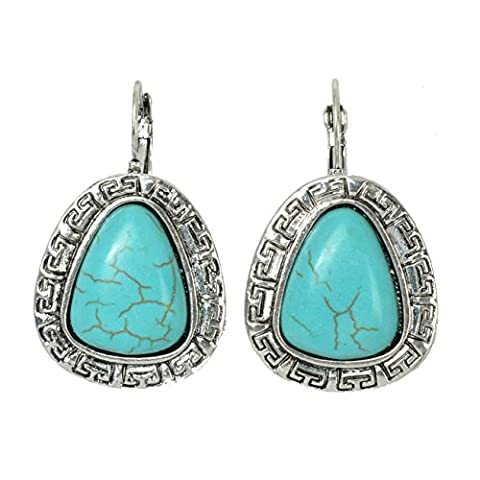 Gina Vintage Turquoise Decorated Dangle Earrings