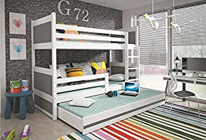 RICO children's bunk bed with trundle with free mattresses, white wooden beds for kids, SEE COLOURS! 160x80, 190x80, 190x90, 200x90
