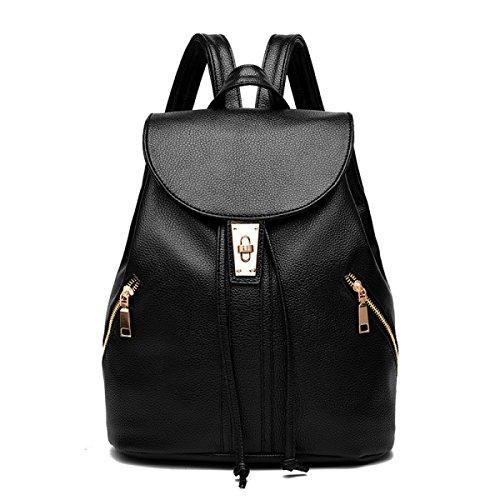 LAIDAYE Pu Schulter Freizeit Reisetasche Mit Großer Kapazität Black