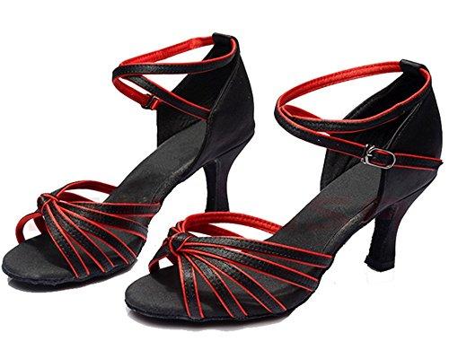 Minetom Damen Pumps Einfarbig Riemen Satin Tanzschuhe Ballsaal Latein Schuhe 5cm Absatz Tango Tanzschuhe mit Absatz Rumba Samba Cowboy Stierkampf Tanzschuhe Schwarz-Rot