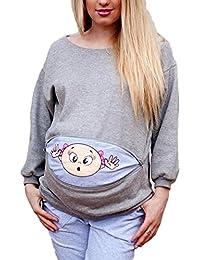 Camiseta divertida de la maternidad, aviso lindo del humor Camisa embarazada