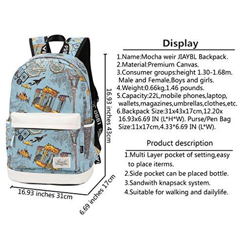 Mocha weir JIAYBL Laptop Taschen Schultern Kinder Schultaschen Rucksack Hochschule Mädchen Canvas Pack reisen (Gelb Kleiner Pfeffer) Blauer Eiffelturm