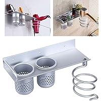 Kicode Home Bathroom Metal Hair Dryer Shelf Wall Mounted Toothbrush Rack Storage Holder