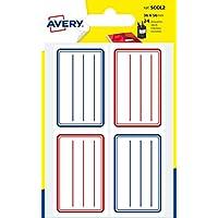 Avery Sachet de 24 Etiquettes Scolaires - 36x56mm - Planche A6 - Lignes Bleues et Rouges (SCOL2)