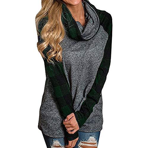 TOPKEAL Damen Jacke Mantel Herbst Winter Sweatshirt Steppjacke Kapuzenjacke Frauen Plaid Langarm Pullover Top Hoodie Pullover Outwear Coats Tops Mode 2019 (Grün, XXXXXL)